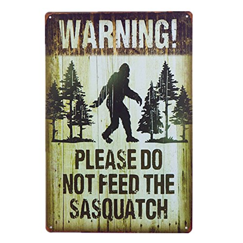 dingleiever DL-Note Plate Warning Please Do Not Feed The Sasquatch Funny Outdoor Road Sign