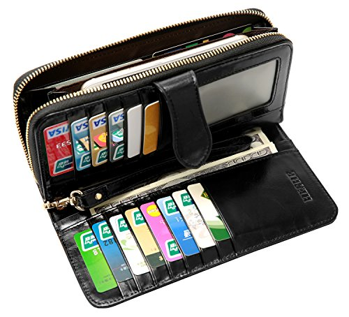 allets Money Clip Card Case Holder Large Capacity Purse Clutch for Ladies with Wrist Strap (Black-E) ()