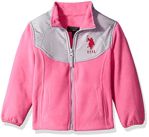 US Polo Association Baby Little Girls' Fashion Outerwear Jacket (More Styles Available), Space Dye-UA78-Medium Pink, 6X