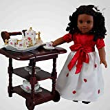 18 inch Doll Pink Rose Fine China Service for Two Tea Set, Kitchen Dish Accessory Tea Party Accessory for American Girl Doll Furniture and Accessories