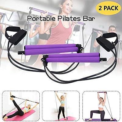 Kit de barra de pilates portátil con banda de resistencia, paquete de entrenamiento portátil para el
