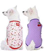 """Blueberry Pet Soft & Comfy Spring Hope Floral Cotton Blend Dog Shirts Tank Top, Back Length 12""""/30cm, Pack of 2 Clothes for Dogs"""