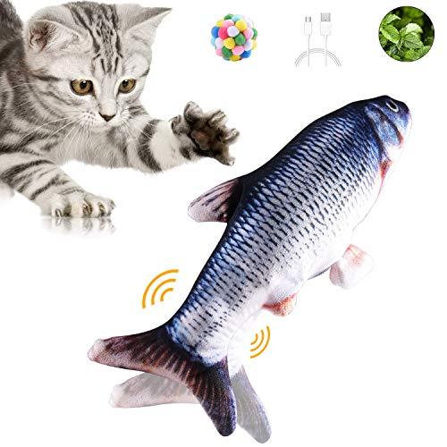UIHOL Simulation Elektrischer Puppenfisch Realistischer Plüsch Wagging Fisch Katze Interaktives Spielzeug Katzenminze…