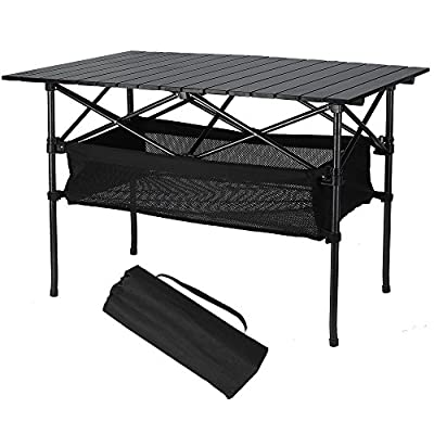 Folinstall Portable Tables - Picnic Table with Hammock Style Storage Basket & Carry Bag - Collapsible Table Supports 154.32 lbs?70 kg?