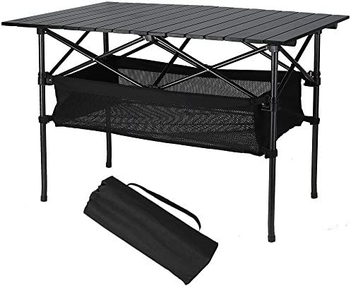 Folinstall Folding Table – Travel Table with Hammock Style Storage Basket Carry Bag – Collapsible Table Supports 154.32 lbs 70 kg