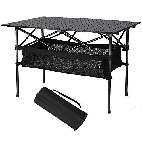 - Folinstall Folding Table - Travel Table with Hammock Style Storage Basket & Carry Bag - Collapsible Table Supports 154.32 lbs(70 kg)