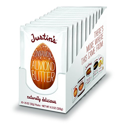 Justin's Cinnamon Almond Butter Squeeze Packs, Gluten-free, Non-GMO, Responsibly Sourced, 1.15 Oz, Pack of 10 ()