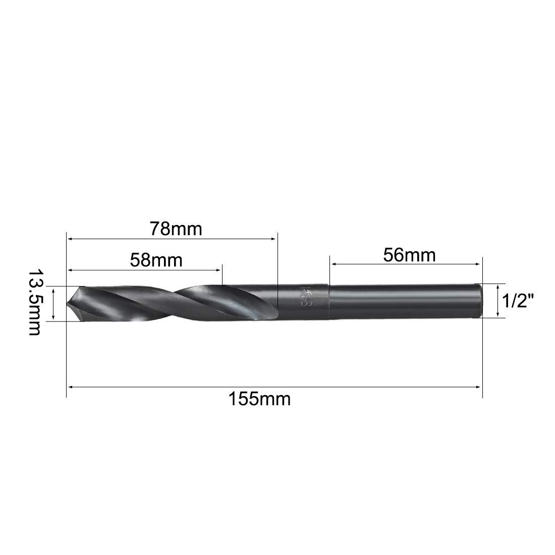 uxcell 1//2 Straight Shank 23.5mm Drill Bit HSS 6542