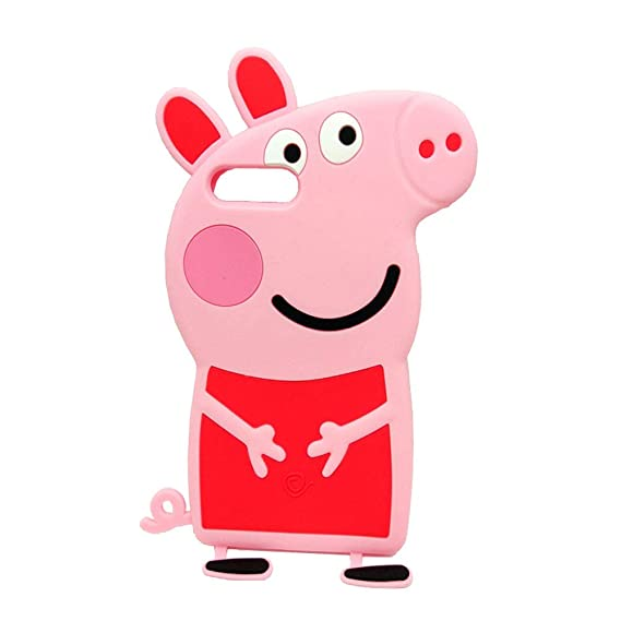 0fdee750d Image Unavailable. Image not available for. Color: 3D Cartoon Animal Peppa  Pig Case Soft Silicone Rubber Phone Case for iPhone 7plus ...