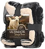 Life Comfort Ultimate Sherpa Throw, 60'x70'. Gray