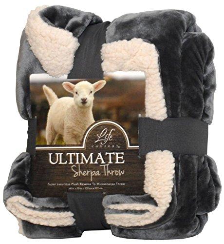 "Life Comfort Ultimate Sherpa Throw, 60""x70"". Gray"