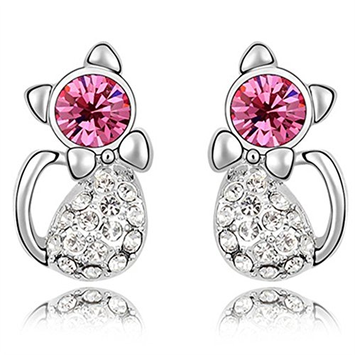 Girls Kitty Cheshire Costumes (Gold Plated Cat Stud Earrings With Swarvoski Crystal Element For Girls Teens Kids EGW156)