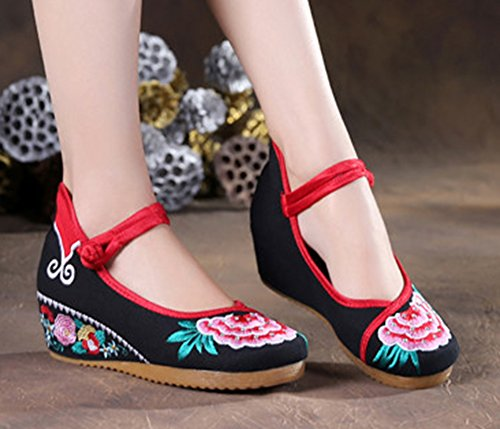 AvaCostume Wedge Beading Heels Embroidery Shoes Women Sandal Black FP7nrqFt