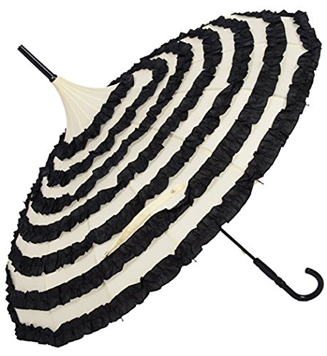 OUTGEEK Ladies Sunproof Umbrella Parasol Lace Flowers Pagoda-Shaped Victoria Style Long Handle (Cream)