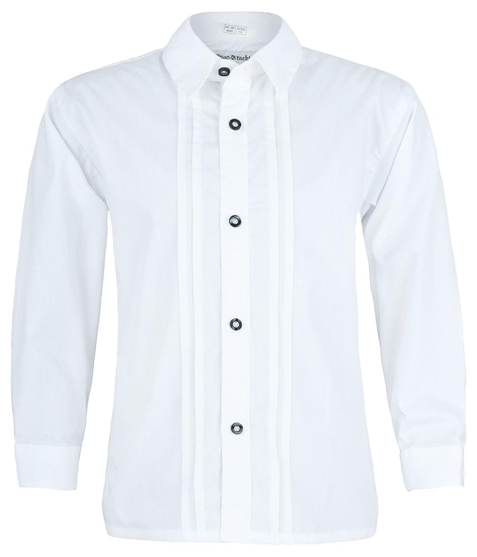 Isar Trachten Kinder Trachtenhemd Thomas - Weiß - Perfekt zu Lederhose und Jeans an Oktoberfest, Kirchweih oder Kommunion