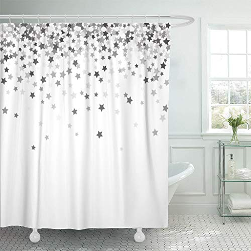 - Emvency Fabric Shower Curtain Curtains with Hooks Sparkle Abstract Pattern of Random Falling Silver Stars on White for Christmas and New Year 60