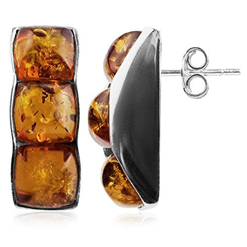 Amber Sterling Silver Three-stone Stud - Earrings Stone Designer 3