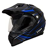 Voss 601 D2 Matte Blue Spectrum Dual Sport Helmet with Integrated Sun Lens - M - Matte Blue/ Black