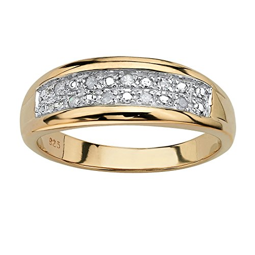 18k White Gold Diamond Wedding Band - Men's White Pave Diamond 18k Gold over .925 Silver Wedding Band (.12 cttw, GH Color, I3 Clarity)