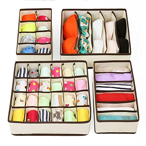 SONGMICS Foldable Clothes Drawer Organizers Underwear Organizer Drawer Divider Kit for Underwear Bras Beige URUS04M