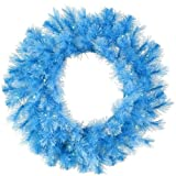 vickerman blue lights - Vickerman Pre-Lit Sky Blue Cashmere Artificial Christmas Wreath with Clear Lights, 30