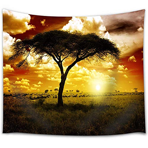 BROSHAN African Safari Decor Tapestry, Nature Tree Wildlife Animal Silhouette Tapestry Wall Hanging Sunset Wall Tapestry Blanket for Bedroom Living Room Dorm, 60 x 80 Inch Long -
