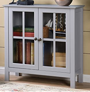American Furniture Classics OS Home And Office Dark Gray Glass Door Accent  And Display Cabinet,