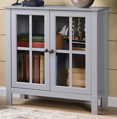 [American Furniture Classics OS Home and Office Dark Gray Glass Door Accent and Display Cabinet, Dark Gray Paint] (Antique Bookcase Cabinet)