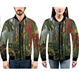iPrint Hoodies for Men Pullover Active Lightweight Sweatshirt with,Coffee and Bike Theme