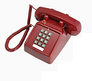TelPal Telephones Land Line Corded Old School Phone Single Desk Hearing Impaired Telephones for Seniors Old Fashion Phones for Home & Hotel Wired Telefono Antiguo Extra Loud Ring (Red)