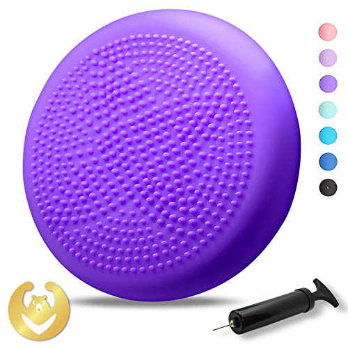Tumaz Wobble Cushion with Air Pump Wiggle Seat, Two Sides Available Stability Balance Disc - Help with Core Strength, Attention, Staying Sitting, Postural Control and Balance for All Ages (Balance Cushion Wobble)