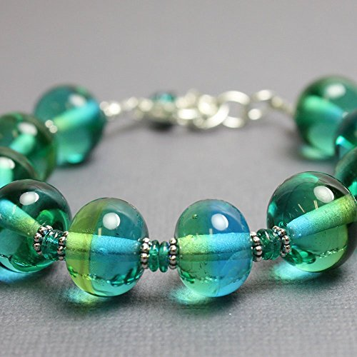 Blue Green Lampwork Bead Bracelet in Sterling Silver-Adjustable 7