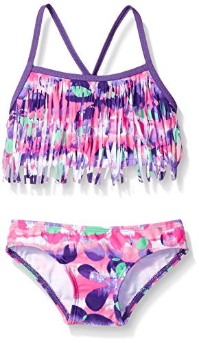 (Kanu Surf Toddler Girls' Kelly Beach Sport Fringe 2-Piece Bikini Swimsuit, Megan Floral Pink/Purple, 4T)