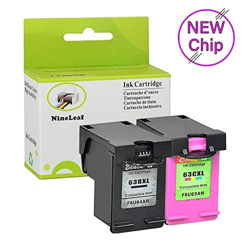 NineLeaf Compatible Remanufactured High Yield Ink Cartridges for HP 63XL 63 XL Envy 4520 4516 Officejet 4650 3830 3831 4655 Deskjet 2130 2132 1112 3630 3634 with Ink Level Display 1 Black+1 Tri-Color