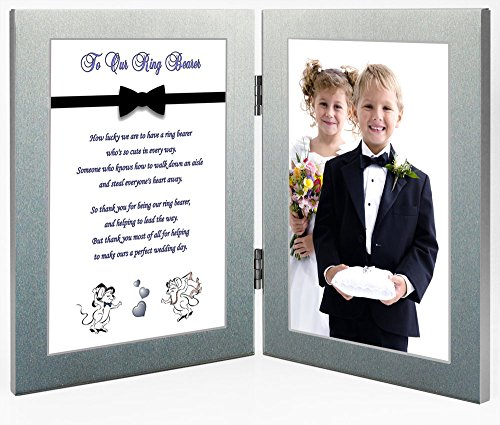 Ring Bearer Gift, Wedding Thank You Poem in Double Frame - Add Photo