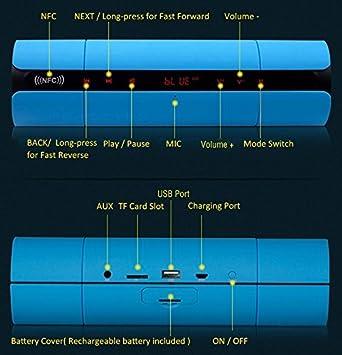 Five Titans KR-8800 Touch Altavoz Bluetooth con LED luz Intermitente, Apoyo Llamada Manos Libres/NFC función, Apoyo TF Tarjeta.: Amazon.es: Electrónica