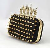 Señoras, clavo, pico parásito, bolso de embrague, bolso de hombro, negro, oro