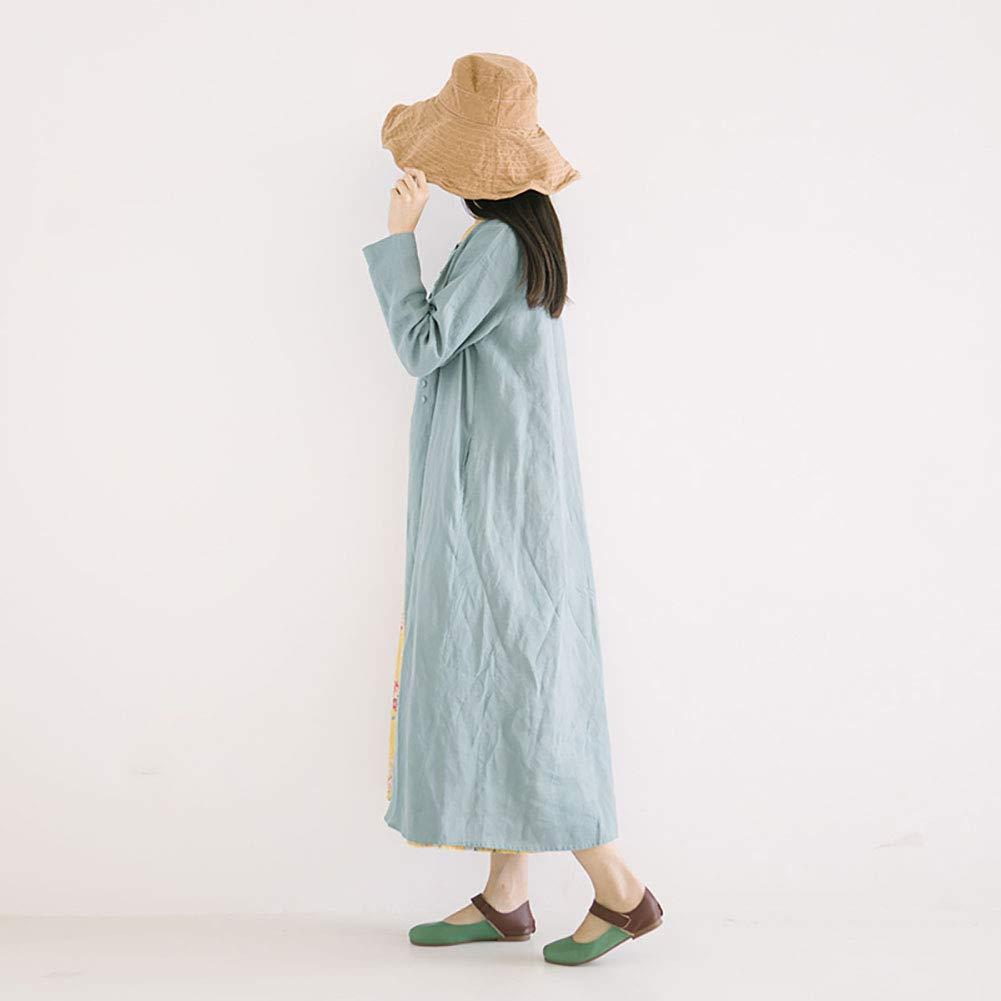 女性のラミードレス - 春と夏の秋のカーディガン文学レトロラウンドネックウインドブレーカージャケット Medium cyan B07QK1SDPD