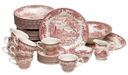 Churchill China Brook Pink 45-Piece Dinnerware Set Service for 8  sc 1 st  Amazon.com & Amazon.com | Churchill China Brook Pink 45-Piece Dinnerware Set ...