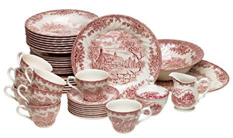Amazon com | Churchill China Brook Pink 45-Piece Dinnerware