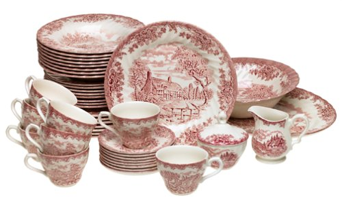 Amazon.com | Churchill China Brook Pink 45-Piece Dinnerware Set Service for 8 Dinnerware Sets  sc 1 st  Amazon.com & Amazon.com | Churchill China Brook Pink 45-Piece Dinnerware Set ...