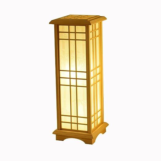 XUANLAN Lámpara de pie de Mesa de Madera Japonesa, lámpara ...