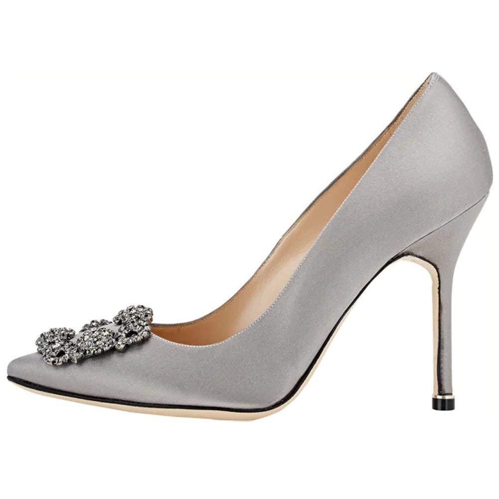 Caitlin Caitlin Pan Femmes Escarpins Classique Pointu Gris Talons Hauts Satin Bout Pointu Diamants Talon Aiguille Chaussures de Robe Gris f414199 - latesttechnology.space