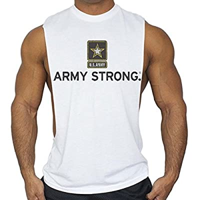 US Army Strong. Workout T-Shirt Bodybuilding Tank Top White S-3XL