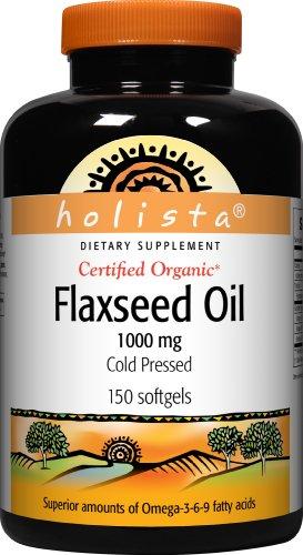 Holista Flaxseed Oil 1000 mg pressée à froid certifiée biologique, 150-Count Bottle