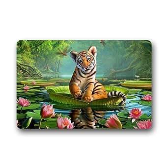 """Custom tigre y Lily lavable a máquina alfombras de interior al aire libre Felpudo (23.6x15.7"""")"""