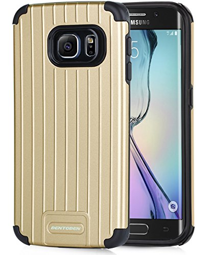 Shockproof Hybrid Case for Samsung Galaxy S6 Edge (Black/Gold) - 4