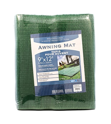 Camco Durable Reversible RV Camper Awning Mat- Mildew and Rust Resistant Help Prevents Dirt From Being Tracked - Perfect for Campsites, Beaches, Picnics 9' X 12'- Green (42820)