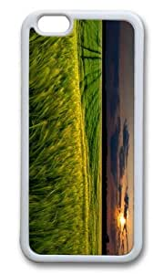 MOKSHOP Adorable green wheat field sunset Soft Case Protective Shell Cell Phone Cover For Apple Iphone 6 Plus (5.5 Inch) - TPU White