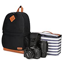 """Kattee Women's Canvas SLR DSLR Camera Case Backpack 14"""" Laptop Bag for Canon Nikon with Waterproof Rain Cover Tripod Holder (Black, Small)"""
